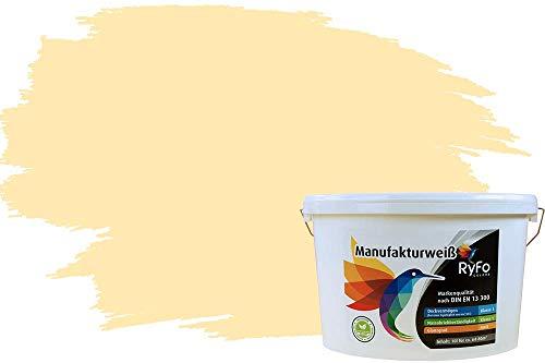 RyFo Colors Bunte Wandfarbe Manufakturweiß Samtgelb 10l - weitere Gelb Farbtöne und Größen erhältlich, Deckkraft Klasse 1, Nassabrieb Klasse 1