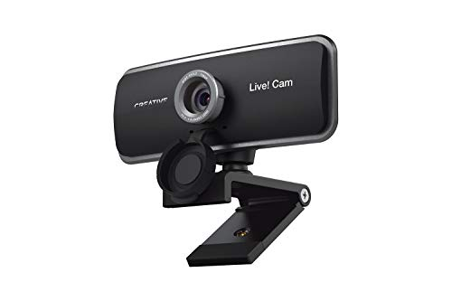 Creative Live! Cam Sync 1080p Full HD Wide-Angle USB Webcam with Dual Built-in Mic, Privacy Lens Cap, Universal Tripod Mount, High-res Video Calling, Recording, and Streaming Camera for PC or Mac