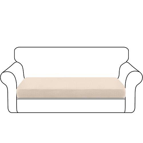 Granbest Funda de Cojín de Asiento de Sofá Engrosada Funda de Asiento de Sofá Duradera Protector de Muebles para Cojines de Sofá Individuales (3 Plaza, Beige)