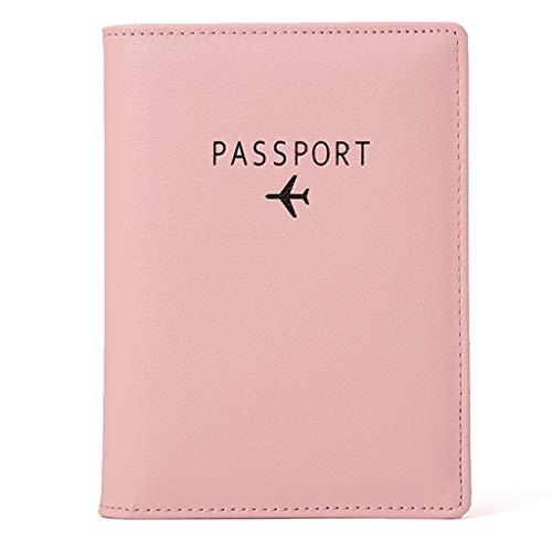 OVERMAL Reisepasshülle Leder RFID Schutz Reise-Etui Passhülle Reisepass Mappe Reisepassetui Passport Hülle Damen Herren Geschenk Passinhaberdeckel Karteninhaber (Rosa, 21.5cmx2cmx14.5cm)