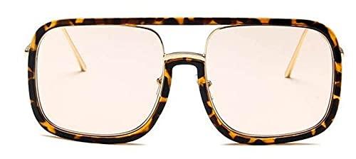 LOPIXUO Gafas de sol Gafas de sol cuadradas de gran tamaño para mujer, transparentes retro para hombres, gafas para mujer, té de leopardo