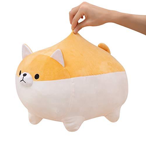 SQUISHY DOT Dog Plush Toy, Kawaii Stuffed Animal, Cute Animal Plush Toy, Shiba Inu Dog Super Soft Plush, Throw Pillow, Japanese Anime Corgi Plushie, Gift for Girl, Boy, Friend, 16 Inches
