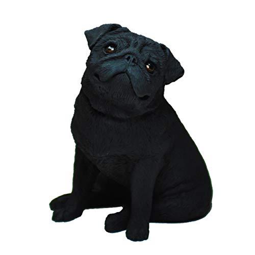 Figura Carlino Negro, Gris, Estatua de Perro, Escultura de Resina, Altura: 11cm. (Negro)