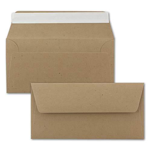 25x Kraftpapier Umschläge DIN Lang - Braun ÖKO - Haftklebung selbstklebend 11 x 22 cm - 120 g/m² Briefumschläge ohne Fenster aus Recycling Papier - von NEUSER PAPIER