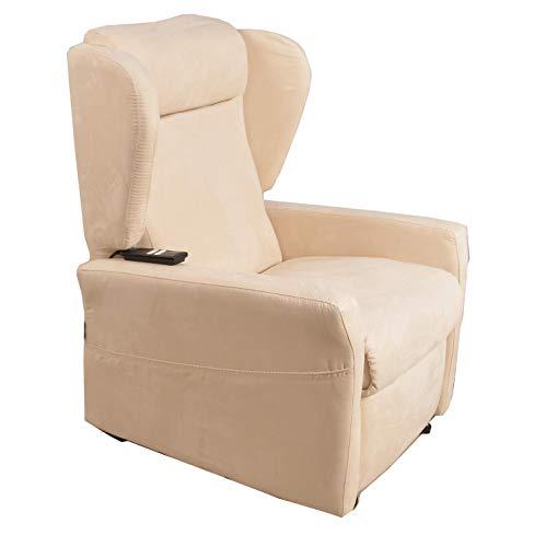 Salute Center Poltrona motorizzta Relax a Due Motori con 4 Ruote per Anziani e disabili Microfibra antimacchia sfoderabile Palermo4 (Beige)