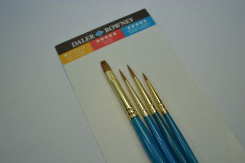 Daler Rowney - 216910401 - Kit De Loisirs Créatifs - Pinceaux À Poignée Courte En Poils Naturels De Zibeline - 4 Pièces