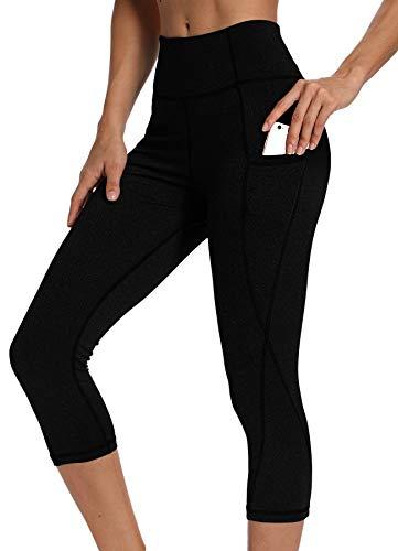 INSTINNCT Damen Doppeltaschen Sport Leggings 3/4 Yogahose Sporthose Laufhose Training Tights mit Handytasche Capris(Upgrade) - Schwarz L