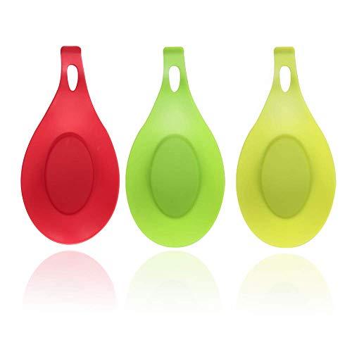 Poggia Cucchiaio a Forma Ovale, Porta Cucchiaio in Silicone set di 3 Utensili in Silicone Resistente al Calore Spatola da Cucina Utensile da Cucina, Rosso, Giallo-verde, Verde, 19,5 × 9,5 × 2,5 cm