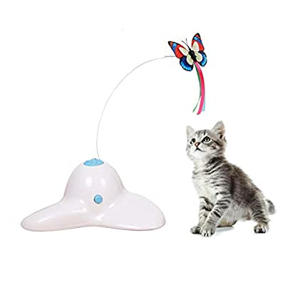 Suhaco Cat Toys for Indoor Cats Interactive Rotating Teaser Butterfly for Kittens Automatic Self Playing Kitten Toy (White)