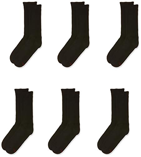 Hanes Men's 6-Pack Ultimate FreshIQ Dyed Crew Socks, Black, (Shoe Size...