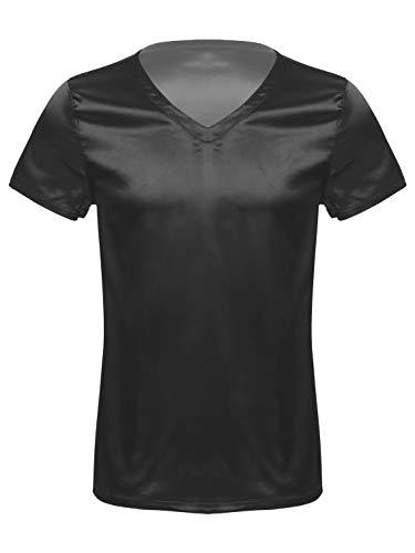 FEESHOW Herren V-Ausschnitt Kurzarm Lose Satin T-Shirt Pyjamas Schlafanzug Tops Shirt Shorty Nachtwäsche Oberteil Nightwear Einfarbig Schwarz L
