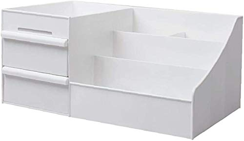 Caja de Maquillaje, de Gran Capacidad de Almacenamiento Caja de cosméticos de Escritorio joyería cajón de contenedores para la Mujer niñas Blancas (grande)