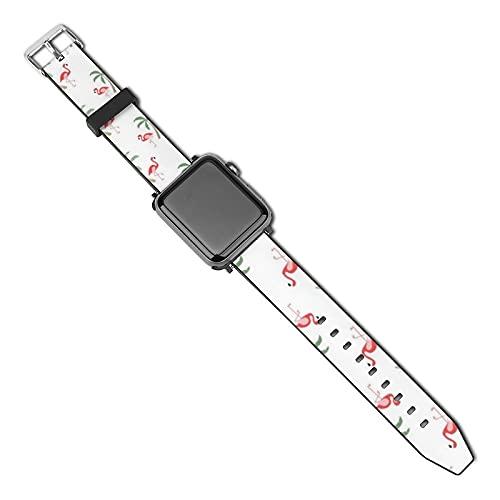 La última correa de reloj de estilo compatible con Apple Watch Band 38 mm 40 mm Correa de repuesto para iWatch Series 5/4/3/2/1, Palmeras flamencos Hawa Print Tropical Bird Tree