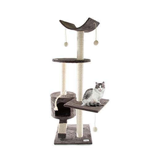 Le Sterne Kratzbaum Turm für Katzen Spielplatz mit Hundehütte Seil Stangen aus Sisal Farbe Grau