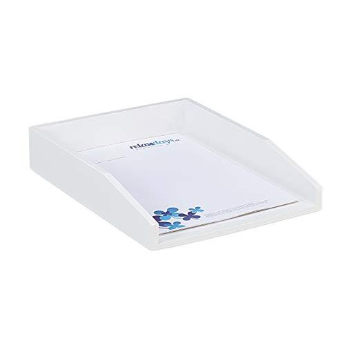 Relaxdays, weiß Dokumentenablage, stapelbar, DIN A4 Papier, Büro, Schreibtisch, Briefablage aus Bambusholz, 6x25x33 cm, 1 Stück