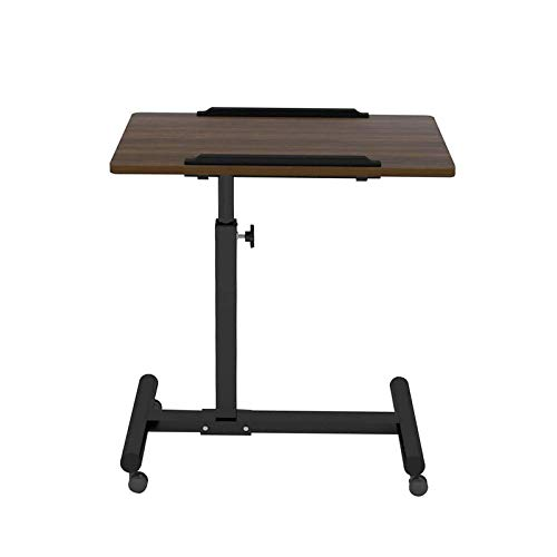 X-LSWAB Movable Computer Desk Height Adjustable Laptop Table Portable Mobile Desk Coffee Table Side Table for Small Space Computer Workstations for Home Office Bedroom (Color : Black Walnut Small)