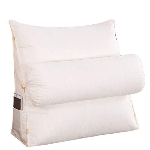 YONGYONG Coton De Couleur Unie Et Toile De Lin Avec Coussinet Triangle En Coton PP Amovible Et Lavable 45cm * 45cm * 20cm, 60cm * 50cm * 20cm (Color : White, Size : 45cm*45cm*20cm)