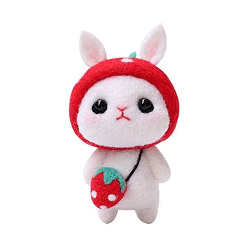 LIXBD Kit de inicio de fieltro de aguja de animales hecho a mano de felpa de conejo de conejo de peluche para niños adultos fiesta de Pascua regalo del día de San Valentín (color rojo fresa) 🔥