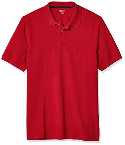 Amazon Essentials Men's Regular-Fit Cotton Pique Polo Shirt, -Red, Large