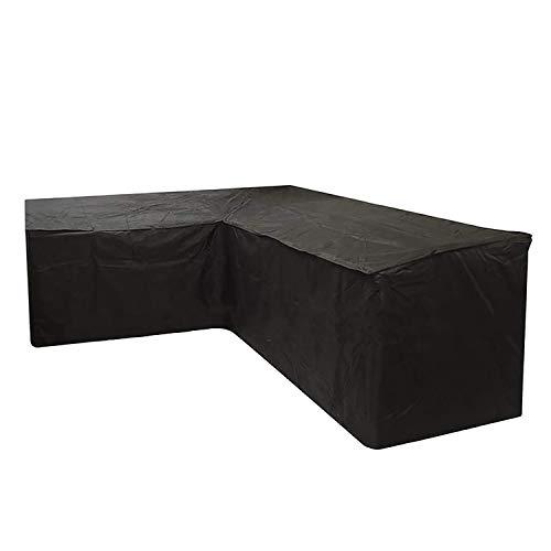 VOXKELY Juego de fundas para muebles de jardín 210D de tela Oxford de ratán, para exteriores, en forma de L, impermeable, para proteger el sofá (286 x 286 x 82 cm)