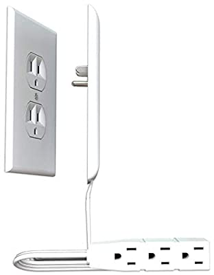 Sleek Socket Ultra-Thin Electrical Outlet Cover | Hides Ugly & Unsafe Plugs & Cords | Outlet Cover with 3 Outlet Power Strip | UL/CSA Safety Certified