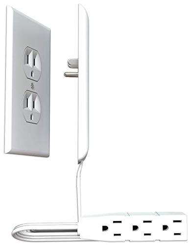 Sleek Socket Ultra-Thin Electrical Outlet Cover with 3 Outlet Extension Cord, 3-foot, Oversized Size