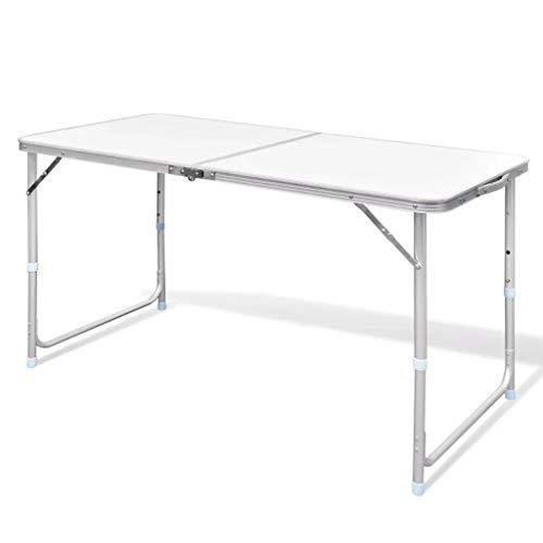 Cikonielf Mesa de Picnic de Aluminio Altura Ajustable 70-55cm Mesa para Acampada Plegable Mesa de Camping de Jardín Carga Máximo 50kg