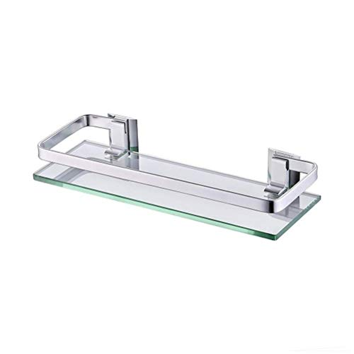 ZWJ badkamer glazen rek met railwand bevestigd aluminium en gehard glas bevestiging inclusief badkamer accessoires toilet wc-opslag-organisatoren 02.14