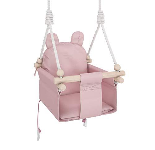 MAMOI Babyschaukel Kinderschaukel Holz + SICHERHEITSGURT, Schaukel für Kinder Garten Indoor Outdoor (Rosa Teddybär)