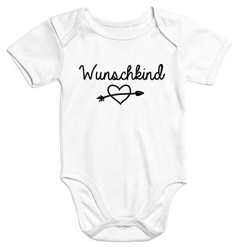 MoonWorks Kurzarm Baby-Body mit Aufdruck Wunschkind Strampler Bio-Baumwolle weiß 6-12 Monate