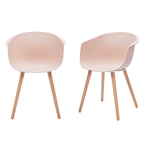 "Amazon Brand - Rivet Alva Modern Curved-Back Plastic Dining Chair, Set of 2, 23.2""W, Nude Pink"