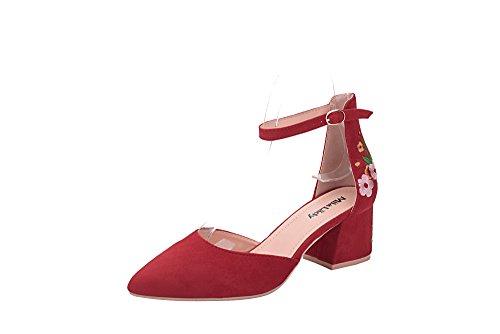 Mila Lady Novia Women's Block Low Heel Ankle Strap Pointy Toe D'Orsay Dress Pump, FL/RED 10