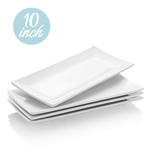 Krockery Rectangular Porcelain Platters, Serving Plates for Parties - 10 Inch, Set of 4