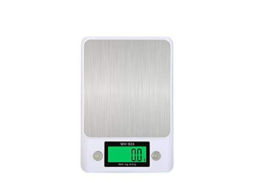 Báscula Digital de Cocina,Balanza de Alimentos Multifuncional, Escala de Peso de Alta Precisión con Función de Tara, Pantalla LCD Báscula de Alimentos Electrónica -Blanco 5000G 1G