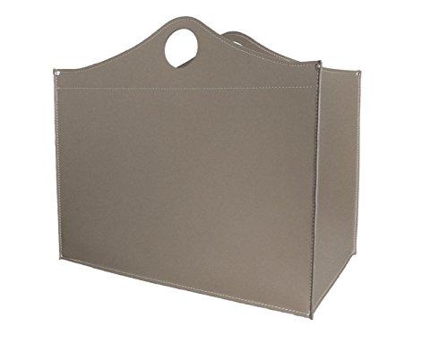 WOODBAG Small special: Porte bûches en cuir de couleur Gris tourterelle, Panier sac à bûches, Chariot à bois, Panier à granulés.