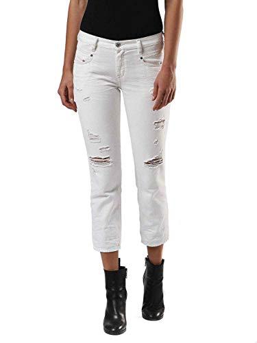 Diesel BELTHY-Ankle Pantaloni Jeans Straight, Bianco (100 – White 0680K), 28 W...