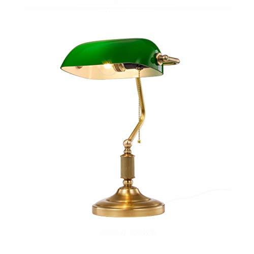 CFSD Best Wishes Shop - Lámpara de mesa tradicional de lectura con base de latón y pantalla de cristal verde (interruptor de palanca) E27