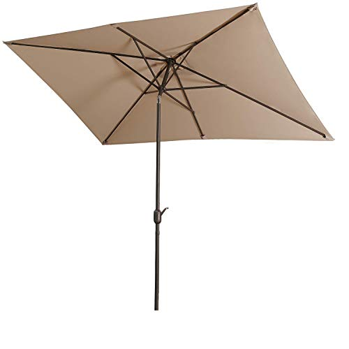 Aok Garden Outdoor Market Umbrella,10x6.5 Feet Square Patio Umbrella with Push Button Tilt and Crank Lift Ventilation,6 Sturdy Ribs Non-Fading Sunshade,Taupe Color
