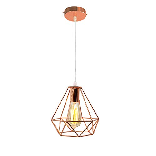Vintage Lámpara Colgante Retro Luz de Techo Araña Forma de Jaula Diamante, Oro Rosa