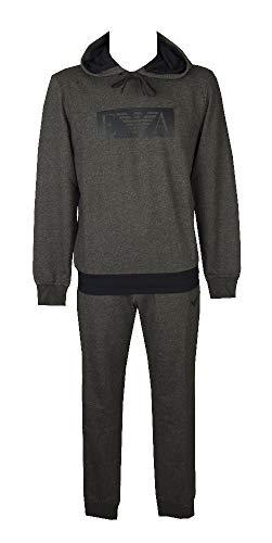 Emporio Armani Complet Costume de Sport Homme Loungewear Article 111921 0A566 Hooded Sweater + Trousers, 06749 Grigio Melange Scuro - Dark Grey Melange, S