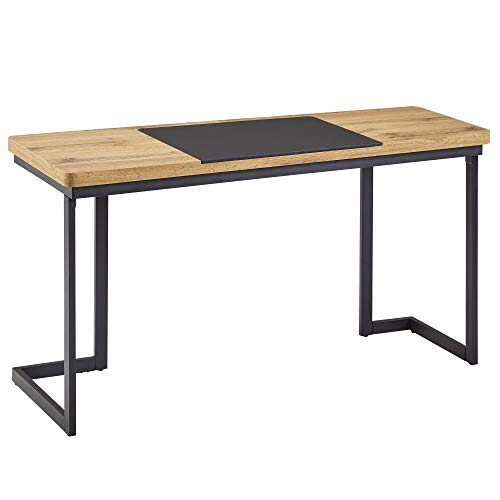FineBuy Schreibtisch 140x76x55 cm Holz Metall Bürotisch Schwarz Home-Office | Breiter Design Laptoptisch | Moderner Computertisch Konsolentisch