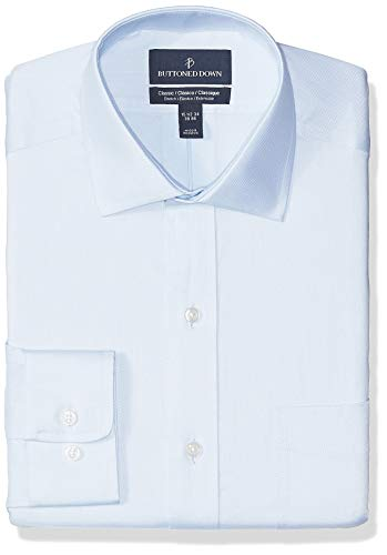 BUTTONED DOWN Men's Classic Fit Stretch Twill Non-Iron Dress Shirt, Light Blue Ice, 19' Neck 34' Sleeve