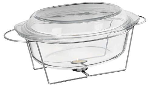 KADAX Auflaufform aus Glas, mit Vorwärmer, 4.5L, hitzebeständiges Gefäß, Speisewärmer, ovales Geschirr mit Deckel und Griffe, Glasbräter zum Braten, Backofen, für Fleisch, Lasagne