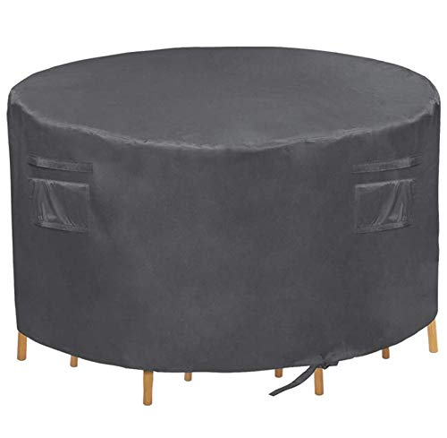 """Patio Round Table Cover,Heavy Duty Waterproof Patio Furniture Cover,Suitable for 4 chairs and a table set,60""""Diax28""""H(Grey)"""