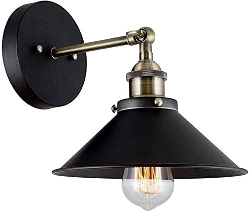 Aplique de pared Cable duro negro Industrial Retro Ajustable Acabado en bronce Lámpara de pared con brazo oscilante para pasillo Lámpara de lectura para dormitorio al aire libre,