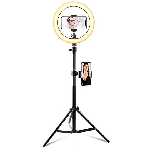 Anillo De Luz De 10 '', Con Soporte De Trípode Extensible De 63 '' Luces Circulares LED Con Soporte Para Teléfono O Soporte Para Tableta Anillo De Luz De Belleza Para Transmisión En Vivo Tiktok,A