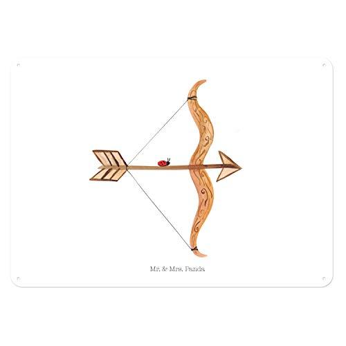 Mr. & Mrs. Panda Deko Schild, Geschenk Schild, 40x30cm Blechschild Sternzeichen Schütze - Farbe Weiß