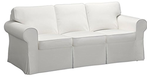 Dense Cotton Sleeper Cover. It Fits Pottery Barn PB Basic Three Seat Sleeper Sofa Bed. A Quality 3 Seater Sofa Bed Slipcover (White Durable)