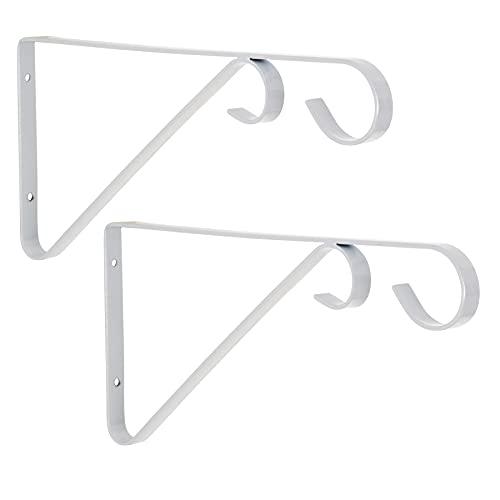 Paquete de 2 soportes de pared para colgar cestas con ganchos gemelos, de metal forjado a mano, para plantas de jardín o jardín, hierro forjado (blanco)