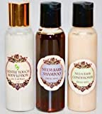 Neem Queen's Travel Trio - Neem Oil & Neem Bark Herbal Shampoo & Conditioner & Gentle Touch Body Lotion TRAVEL SIZE